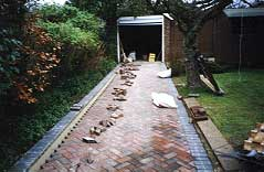 another brick driveway under construction